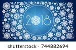 new year 2018 vector... | Shutterstock .eps vector #744882694