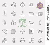 travel and tourism icon set in... | Shutterstock .eps vector #744883057
