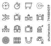 thin line icon set   clock ...   Shutterstock .eps vector #744884059