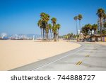 bike lane down the venice beach ... | Shutterstock . vector #744888727