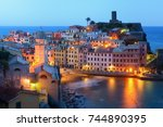 vernazza at night with... | Shutterstock . vector #744890395