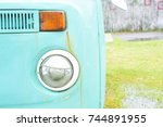 retro headlight of vintage car. | Shutterstock . vector #744891955