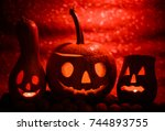 halloween pumpkins at abstract... | Shutterstock . vector #744893755