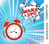 alarm clock with comic bubble... | Shutterstock .eps vector #744894745