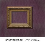golden frame over  vintage... | Shutterstock . vector #74489512
