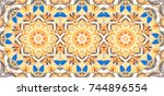 colorful kaleidoscopic... | Shutterstock . vector #744896554