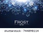 frost glass pattern. elegant... | Shutterstock .eps vector #744898114