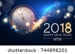 happy new 2018 year background... | Shutterstock .eps vector #744898201