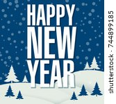 flat design new year template... | Shutterstock .eps vector #744899185