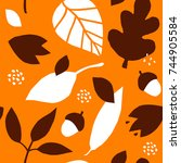 seamless pattern with acorns... | Shutterstock .eps vector #744905584