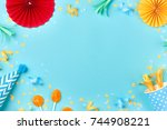 celebration pattern with... | Shutterstock . vector #744908221
