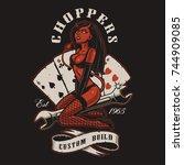 rockabilly girl devil on wrench.... | Shutterstock . vector #744909085