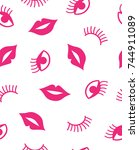 seamless pattern with mouth and ...   Shutterstock .eps vector #744911089