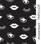 seamless pattern with mouth and ...   Shutterstock .eps vector #744911125