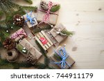 holiday gifts | Shutterstock . vector #744911179