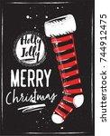 christmas stockings. chalk...   Shutterstock .eps vector #744912475