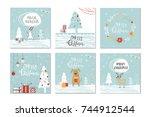 set of 6 cute christmas gift... | Shutterstock .eps vector #744912544