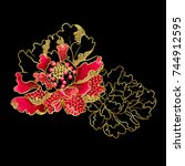 peony flowers embroidery with...   Shutterstock .eps vector #744912595