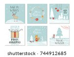 set of 6 cute christmas gift... | Shutterstock .eps vector #744912685
