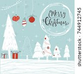 cute christmas gift card with... | Shutterstock .eps vector #744912745
