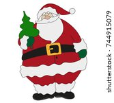 santa claus. christmas. icon.... | Shutterstock .eps vector #744915079