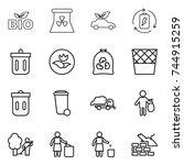 thin line icon set   bio ... | Shutterstock .eps vector #744915259