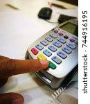 right forefinger push green... | Shutterstock . vector #744916195