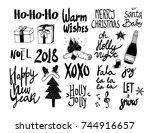 hand drawn christmas lettering...   Shutterstock .eps vector #744916657