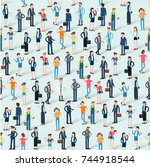 people crowd seamless flat... | Shutterstock .eps vector #744918544