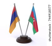 table flags  armenia and... | Shutterstock . vector #744918577