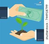 flat design businessman paying... | Shutterstock .eps vector #744918799