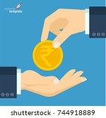 flat design indian rupee vector ... | Shutterstock .eps vector #744918889
