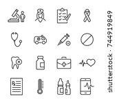 simple collection of healthcare ... | Shutterstock .eps vector #744919849