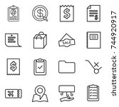 thin line icon set   report ... | Shutterstock .eps vector #744920917