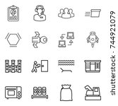 thin line icon set   report ... | Shutterstock .eps vector #744921079