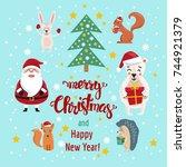 merry christmas. christmas... | Shutterstock .eps vector #744921379