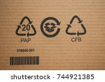 cardboard brown corrugated... | Shutterstock . vector #744921385