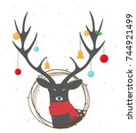 christmas deer with wreath | Shutterstock . vector #744921499