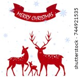 merry christmas with deer... | Shutterstock . vector #744921535