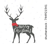 christmas deer background | Shutterstock .eps vector #744921541