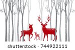 red christmas deer with birch... | Shutterstock . vector #744922111