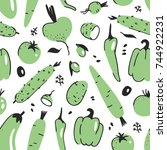 hand drawn seamless pattern... | Shutterstock .eps vector #744922231