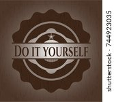 do it yourself wood emblem.... | Shutterstock .eps vector #744923035