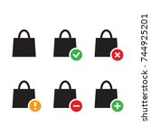 black set of shopping bags icon ...