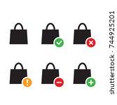 black shopping bags icon... | Shutterstock .eps vector #744925201