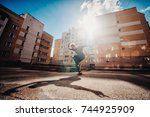 young attractive man dancing in ... | Shutterstock . vector #744925909