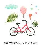 watercolor summer sketch | Shutterstock . vector #744925981