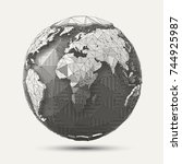 vector geometric line  art... | Shutterstock .eps vector #744925987