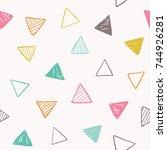 triangle vector pattern. hand... | Shutterstock .eps vector #744926281