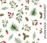 Watercolor Christmas Plants And ...
